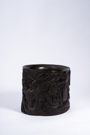Chinese Zitan Scenery Brush Pot