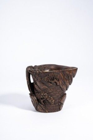 Chinese Bamboo Carved 'Pines' Cup