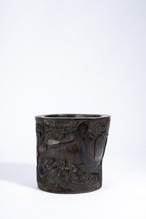 Chinese Zitan 'Boat' Brush Pot