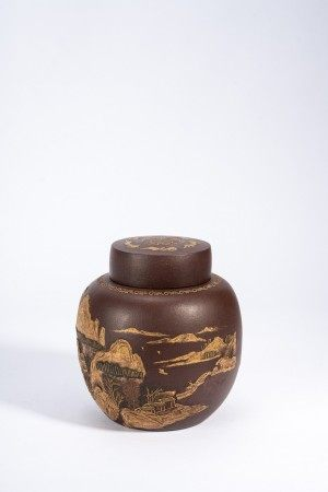 Chinese Yixing Slip Decorated Tea Jar