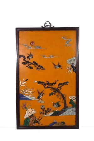 Large Chinese Zitan Framed Embellished Wall Screen