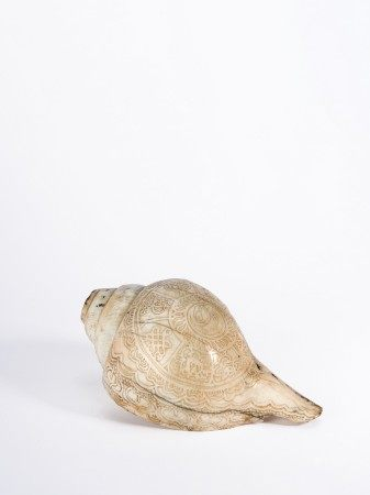 Tibetan Carved Buddhist Ritual Conch Shell