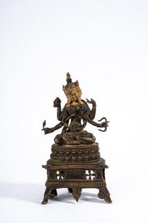Rare Tibetan Copper Alloy Gilt Figure of Usnisa Vijaya