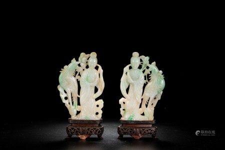 Chinese Jadeite Carved Ladies and Phoenix Pair