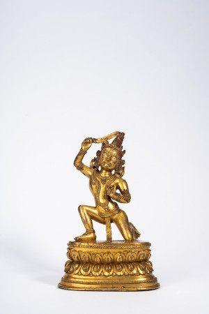 Tibetan Gilt Bronze Figure of Bodhisattva