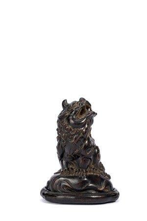 Chinese Zitan Figure of Buddhist Beast