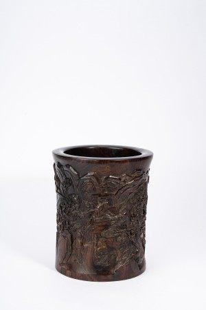 Chinese Hardwood 'Figures and Landscape' Brush Pot