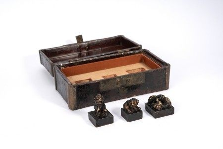 Chinese Set of Three Bronze Seals with Box