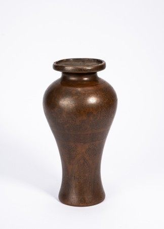 Chinese Copper Silver Wire Inlaid Vase