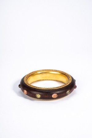 Chinese Sandalwood Inlaid Gilted Bangle