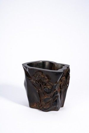 Chinese Zitan Brush Pot Depicting Landscape