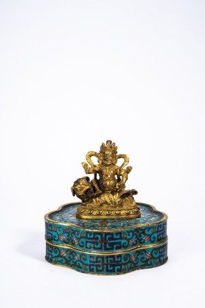 Chinese Gilt Bronze Jambhala and Cloisonne Enamel Box
