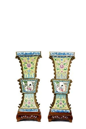 Pair of Chinese Canton Enamel Gu Vases