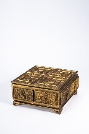 Chinese Gilt Bronze Curio Box