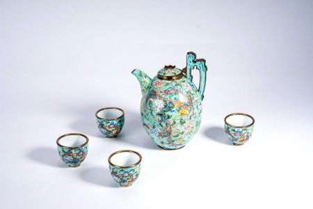 Chinese Canton Enamel Teapot and Cups