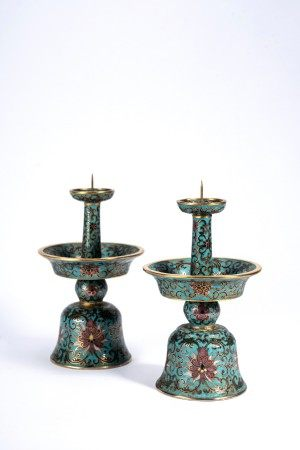 Pair of Chinese Cloisonne Enamel Candlesticks