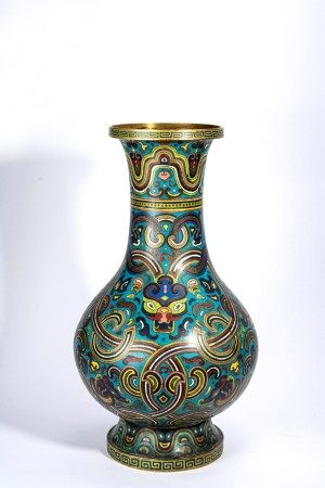 Chinese Cloisonne Enamel Stylized Beast Vase