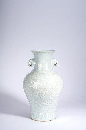 Chinese White Glazed Moulded Vase