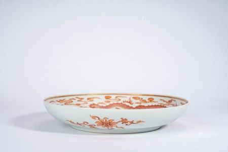 Chinese Iron Red 'Dragons and Cloud' Dish