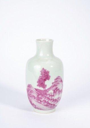 Chinese Pink Enameled Landscape Vase