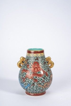 Small Chinese Famille Rose Dragon Vase