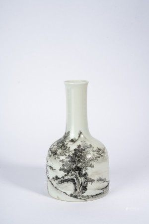 Chinese Grisaille Painted Landscape Vase