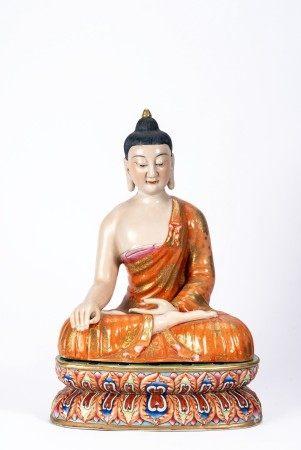 Chinese Famille Rose Shakyamuni Buddha and Stand