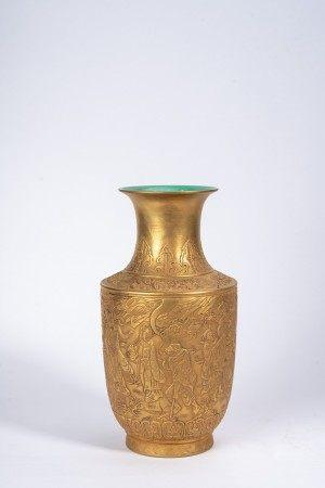 Chinese Gilt Moulded Figures Porcelain Vase