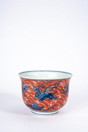 Chinese Iron Red Blue and White Sea Beats Cup