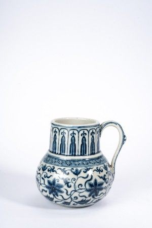 Chinese Blue and White Lotus Scroll Cup