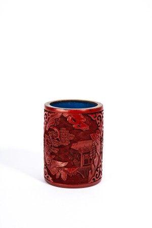 Chinese Cinnabar Lacquer Village Brush Pot