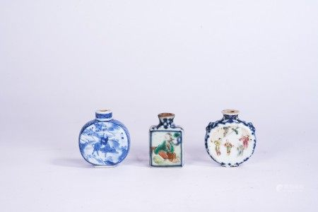 Chinese Porcelain Snuff Bottles, 3 pieces
