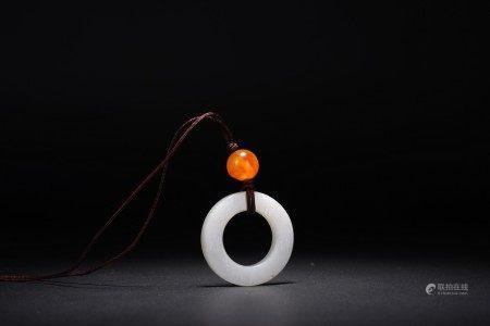 Chinese White Jade Circular Pendant