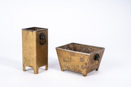 Two Chinese Bronze Silver Mounted Scholar's Vessels