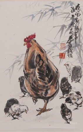 Attributed to Huang Zhou, Chicken Painting