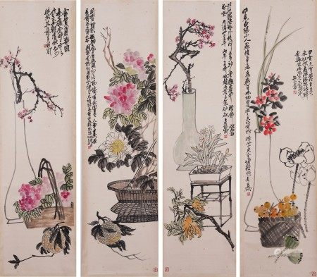Attributed to Wu Changshuo, Four Paintings