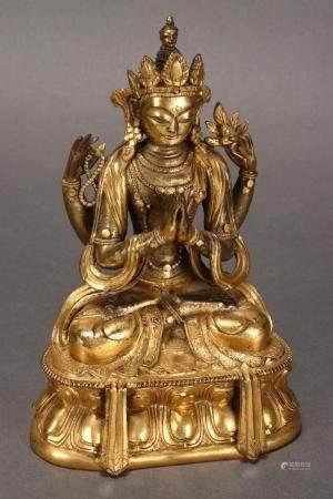 19th Century Sino-Tibetan Gilt Bronze Figure