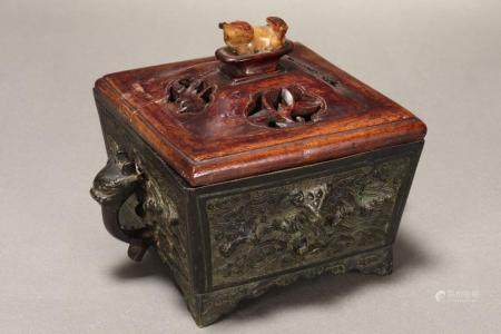 Chinese Twin Handled Bronze Censer,