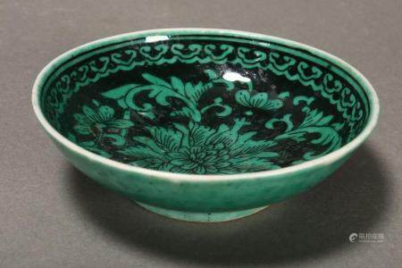 Chinese Qing Dynasty Famille Noir Dish,