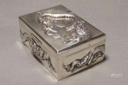 Chinese Silver Table Cigarette Box and Cover,
