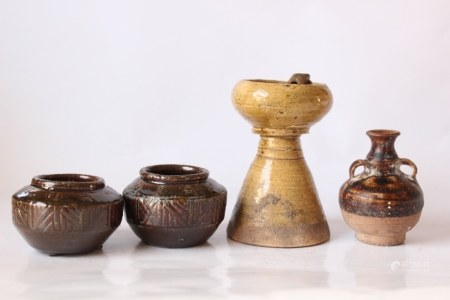 Chinese Pottery Oil Lamp and Miniature Vases