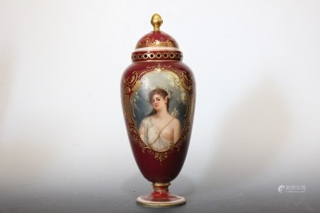 Royal Vienna Hand Painted Porcelain Cover Vase