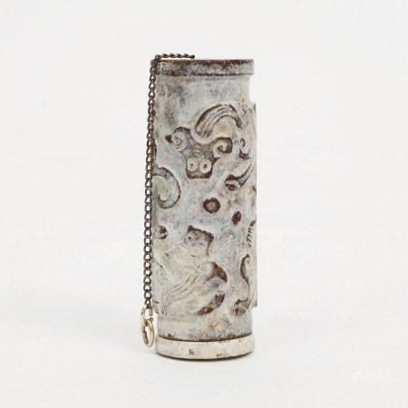 A jade Buddha pendant with dragon patterns, Ming Dynasty 明朝时期刻龙纹的外衣的玉佛挂坠