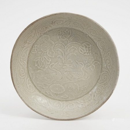 An embossed blue and white porcelain plate, Jin Dynasty 金代模印青白瓷盘
