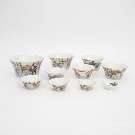 A set of bowls with pastel figures, late Qing Dynasty晚清粉彩人物碗一套