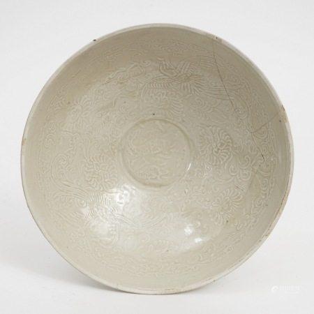 A Ding Kiln embossed bowl, Jin Dynasty 金代定窑模印碗