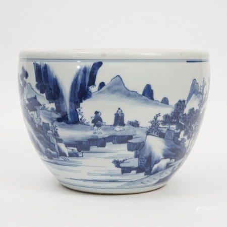 A blue-and-white landscape figure decoration cylinder, Qing Dynasty 清青花山水人物案缸