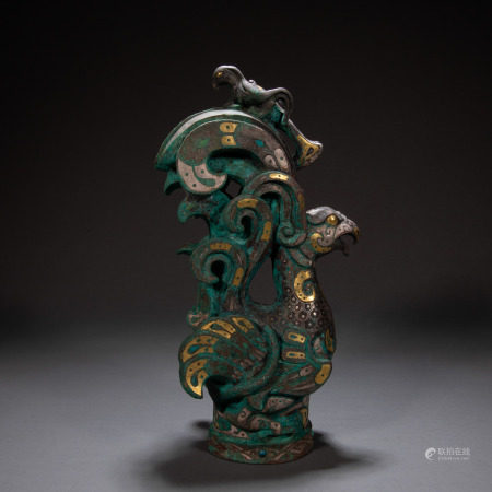 CHINESE HAN DYNASTY BIRD INLAID WITH GOLD
