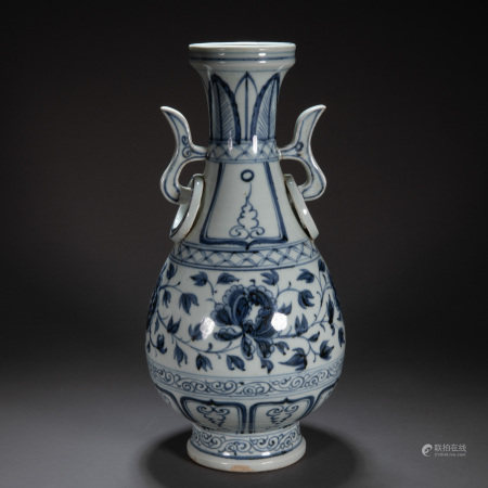 BLUE AND WHITE AMPHORA, YUAN DYNASTY, CHINA