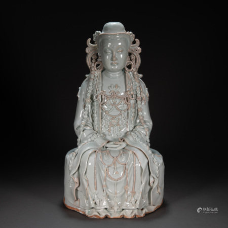 WHITE GLAZED BUDDHA STATUE, YUAN DYNASTY, CHINA